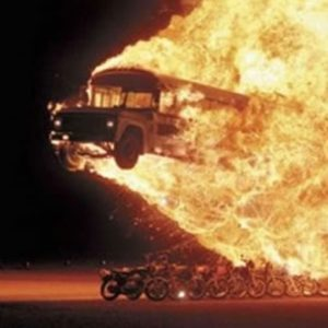 Some days you're the flaming bus... and some days you're the motorcycles.