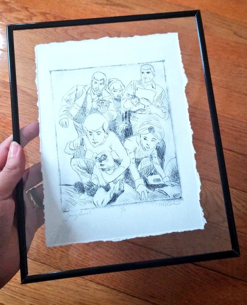 print of a drawing of Jonny Quest and his family: Bandit, Hadji, Dr. Quest, Race, and Jade