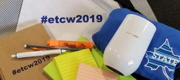 #etcw branded swag (bag, sticky notes, travel mug, t-shirt, notebook, writing utensils)