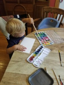 toddler watercoloring