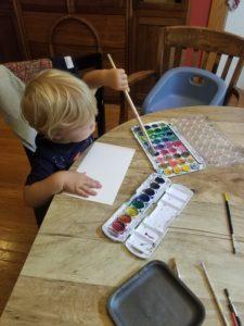 toddler watercoloring